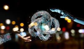 Witte robothand die tot toekomstige 3D renderi van de technologiestructuur leiden Royalty-vrije Stock Foto