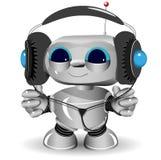 Witte robothoofdtelefoons Royalty-vrije Stock Afbeeldingen