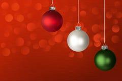 Witte, Rode & Groene LEIDENE van de Ornamenten van Kerstmis Lichten Stock Foto