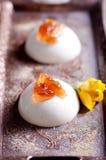 Witte romige cotta van dessertpanna met nam toe Royalty-vrije Stock Fotografie