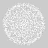 Witte ronde mandala van lijnen op grijze achtergrond Royalty-vrije Stock Fotografie