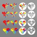 Witte ronde pictogrammen van kleurrijk regenbooghart Symbool voor homoseksuele liefde, huwelijk, vennootschap De vectorreeks van  Royalty-vrije Stock Afbeeldingen
