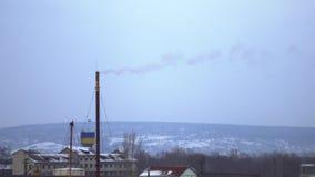Witte rook van de schoorsteen van thermische machts stationboiler ruimte, thermische elektrische centrale, luchtonderzoek, witte  stock videobeelden