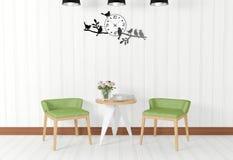 Witte ruimte binnenlandse en uitstekende decoratie Stock Foto's