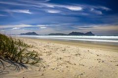 Witte Sandy Beach With Beautiful Blue-Hemel in Waipu, Nieuw Zeeland Stock Foto