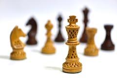 Witte schaakkoning met andere rond stukken Royalty-vrije Stock Afbeeldingen