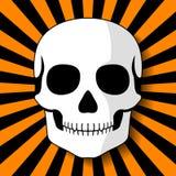 Witte schedel op zwarte oranje stralen Royalty-vrije Stock Afbeelding