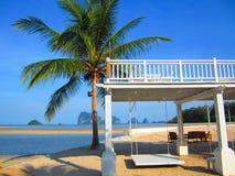 Witte schommeling met kokospalmen en het witte zand Stock Foto's