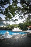 witte Shell-kroonslak van de overzeese blauwe het zwembadbomen waterzonneschijn Royalty-vrije Stock Foto's