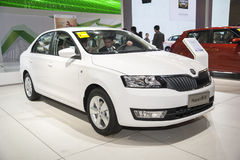 Witte skoda snelle auto van Volkswagen Royalty-vrije Stock Foto