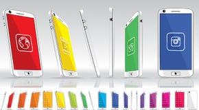Witte Slimme Telefoon - Veelvoudige Meningen Stock Foto's