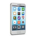 Witte smartphone met apps op het scherm Stock Foto's