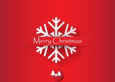 Witte Sneeuwvlok op Rode Achtergrond Royalty-vrije Stock Fotografie