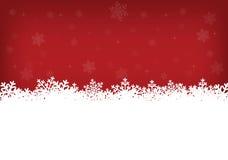 Witte sneeuwvlokken en rode achtergrond Royalty-vrije Stock Foto's