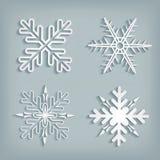 Witte sneeuwvlokken met schaduw Stock Afbeeldingen