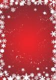 Witte sneeuwvlokken op rode achtergrond Stock Foto
