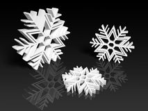 Witte sneeuwvlokken op zwarte achtergrond Royalty-vrije Stock Foto