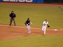 Witte Sox-agent Manny Ramirez die een springend lood nemen bij 1st basis Stock Foto