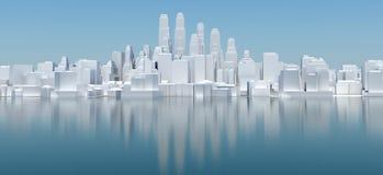 Witte stad met blauwe hemel en overzees Royalty-vrije Stock Afbeeldingen
