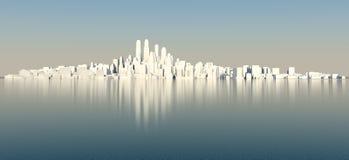 Witte stad met blauwe hemel en overzees Royalty-vrije Stock Fotografie
