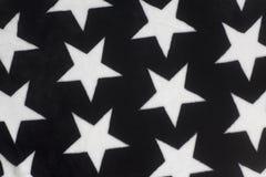 Witte Sterren op Zwarte Stoffenachtergrond Stock Fotografie