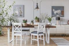 Witte stoelen bij lijst met bloemen in rustiek eetkamerbinnenland met lamp en affiches Echte foto stock afbeelding