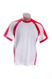 Witte t-shirt met rode bijvoegsels Stock Fotografie