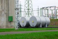 Witte tanks voor olie Stock Fotografie