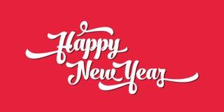 Witte tekst op een rode achtergrond Het gelukkige Nieuwjaar van letters voorzien voor uitnodiging en groetkaart, drukken en affic Stock Afbeelding