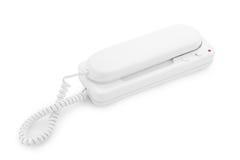 Witte telefoon die op een witte achtergrond wordt geïsoleerdn Stock Fotografie