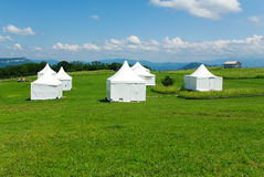Witte tent op het groene gras Stock Foto's