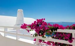 Witte terrassen van Santorini Stock Afbeeldingen