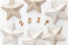 Witte textuur voor Kerstmis, Nieuwjaar 2017 Stock Foto