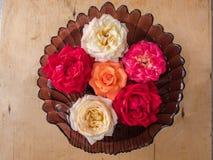 Witte thee, oranje en rode rozen die in een glas drijven Stock Afbeeldingen