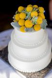 Witte tiered huwelijkscake bij een huwelijksontvangst Royalty-vrije Stock Fotografie
