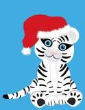 Witte tijger in de hoed van Kerstmis Royalty-vrije Stock Afbeelding