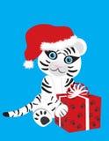 Witte tijger in de hoed van Kerstmis Royalty-vrije Stock Fotografie