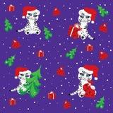 Witte tijger in de hoed van Kerstmis Stock Fotografie
