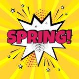 Witte toespraakbel met roze de Lentewoord op gele achtergrond Grappige geluidseffecten in pop-artstijl Vector illustratie royalty-vrije illustratie