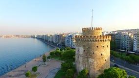 Witte toren in Thessaloniki stock video