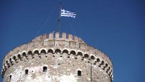 Witte toren in Thessaloniki stock footage