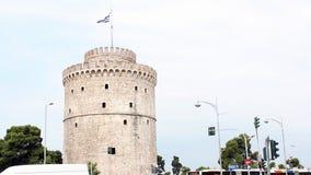 Witte toren thessaloniki stock footage