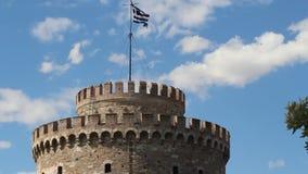 Witte Toren in Thessaloniki, Griekenland stock videobeelden
