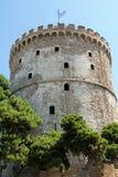Witte Toren van Thessaloniki stad, Griekenland stock fotografie