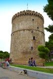 Witte Toren vreedzame scène Thessaloniki Stock Foto's