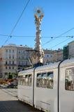 Witte Tram in Linz Stock Afbeelding