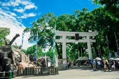 Witte Trii bij het Kumamoto-Kasteel wordt gevestigd in Kumamoto-Prefectuur, Japan Op dit ogenblik, was dit kasteel in schade van  stock afbeelding