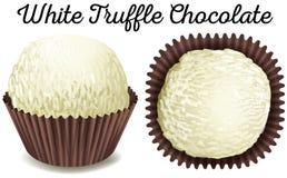 Witte truffelchocolade in bruine kop Stock Fotografie