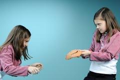 Witte tweelingzusters die conflict hebben Stock Fotografie