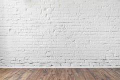 Witte van de bakstenen muurtextuur houten vloer als achtergrond Stock Afbeelding